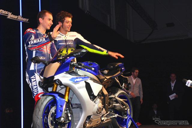 New Yamaha YZF-R1 and Valentino Rossi, Jorge Lorenzo (2014 Milan Show)