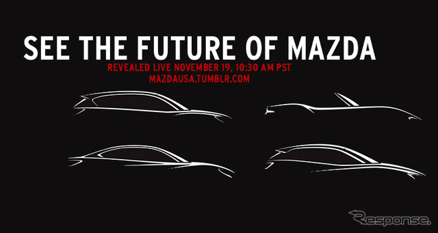 Mazda's new model's promotional pictures: from left clockwise, CX-5, Roadster, CX-3, and Atenza
