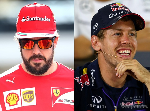 Fernando Alonso (left) and Sebastian Vettel (right)