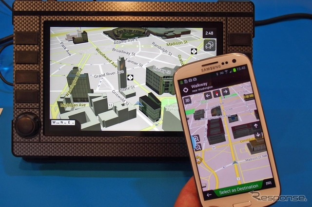 """IGO primo nextgen' equipped to realize mutual cooperation of smartphones with navigation demo machine"