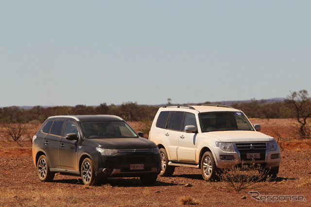 Mitsubishi Outlander PHEV (left) became the Australasian Safari coverage feet