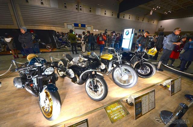 Custom bikes left for BMW R nineT from 46 Works, HIDE MOTORCYCLE and BRAT STYLE, Cherry's Company ( Yokohama hot rod custom show 2014 )
