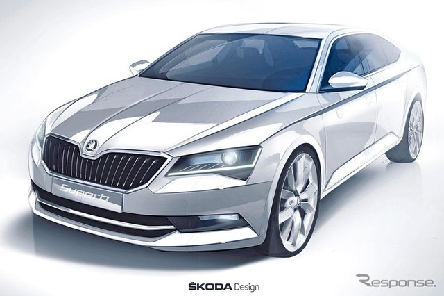 Notice sketches of the new Skoda Superb
