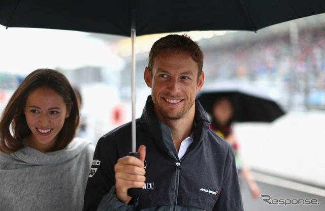 Jessica michibata (left) and Jenson button (right)