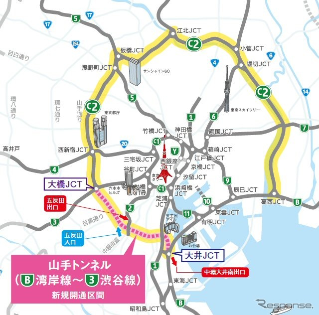 Overview of the central loop Shinagawa line than ) ( capital fast road brochure