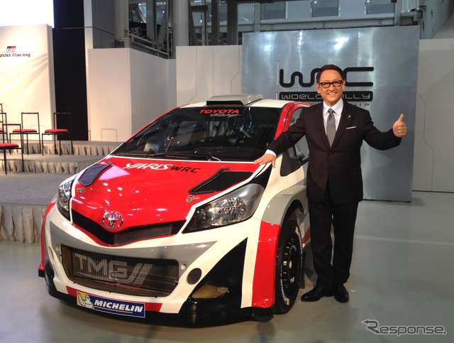 Toyota's President Akio Toyoda and the Yaris WRC