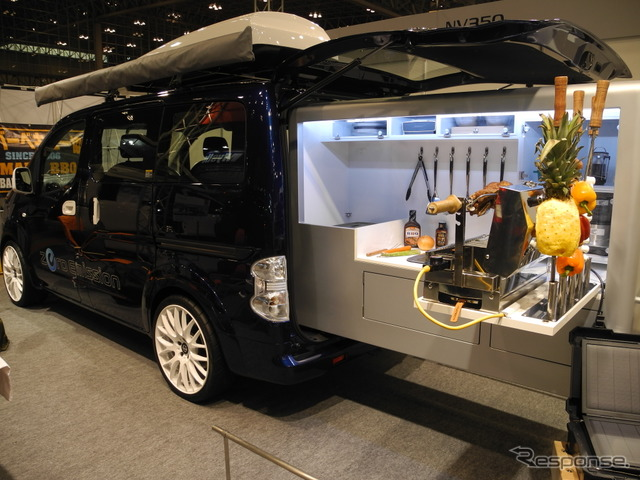 e-NV200 barbecue car displayed by Nissan