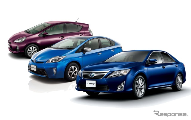 Toyota's hybrid cars, Aqua, Prius, Camry