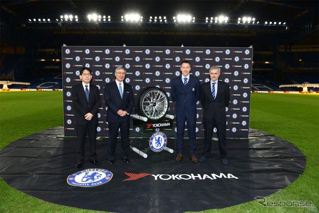 Photo of Stamford Bridge Right from Jose Mourinho of Chelsea FC, John Terry captain, Yokohama Rubber nagumo tadanobu Chairman and CEO of the katsuragawa hideto Executive Managing Officer