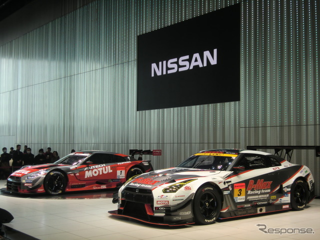 Nissan and NISMO conducted presentation on this season's motor sport activities in the Yokohama Nissan global headquarters Gallery on 28 (GT300, left the team right will compete in the GT500 gt-r)