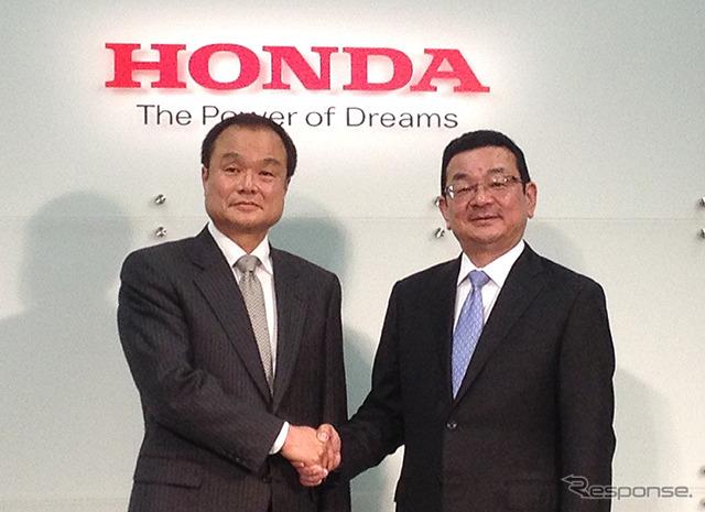 Honda takanobu Ito President (left) and (right, now Senior Executive Officer) new President of yasato, t.