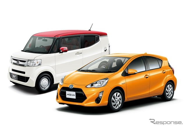 February's top selling Toyota actor and runner-up Honda N-BOX (photo slash)