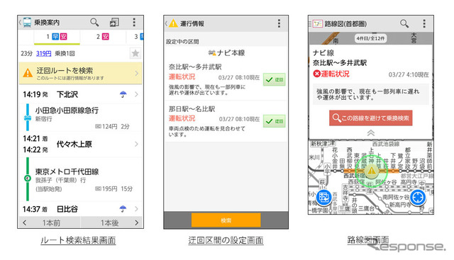 Transfer NAVITIME detour route search function