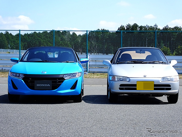 The Honda S660 Prototype (blue) and the Honda Beat (silver) that were launched in 1991. Test-drive event held at Sodegaura Forest Raceway (Chiba) in mid-March.