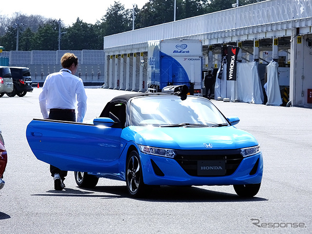 "Honda ""S660' prototype In the test ride was held in mid-March in sodegaura forest Raceway (Chiba Prefecture)"