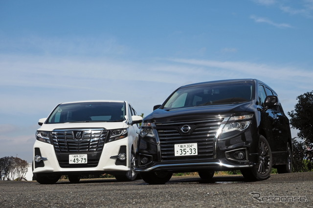 Toyota alphard (left) and Nissan Elgrand (right)