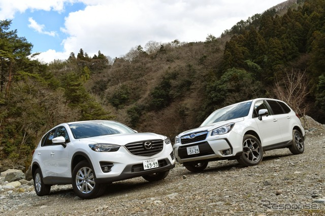 Mazda CX-5 (left) and Subaru Forester (right)