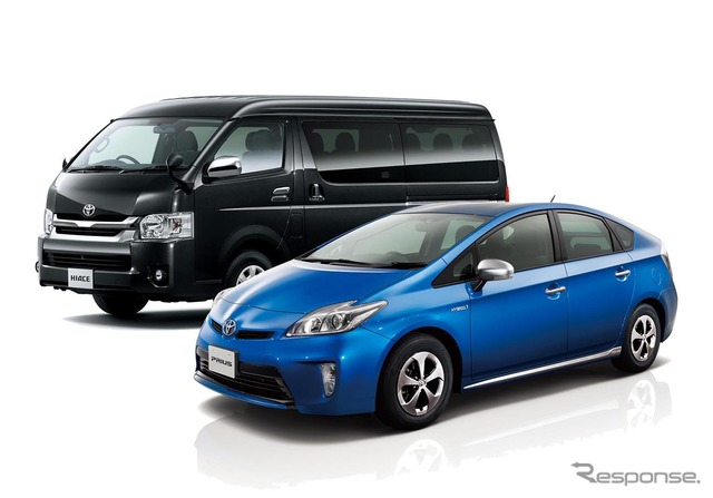 Stolen car worst # 1 Prius (right) and 2nd place Hiace (left)