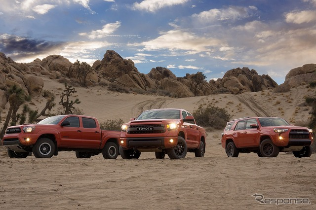 Toyota TRD Pro series (from the left Tacoma, Tundra, 4Runner)