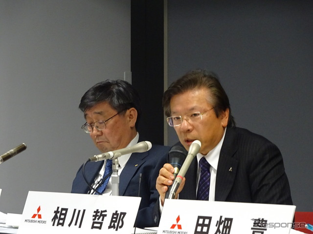 Aikawa Tetsuro, President of Mitsubishi Motors (right)