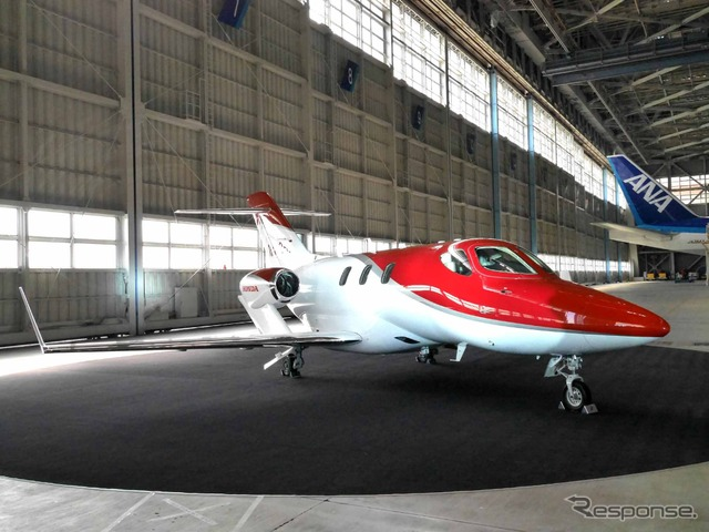Honda Jet was parked on ANA hangers