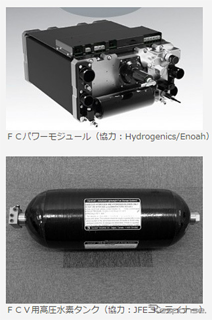 FC power module and high-compressed hydrogen tanks