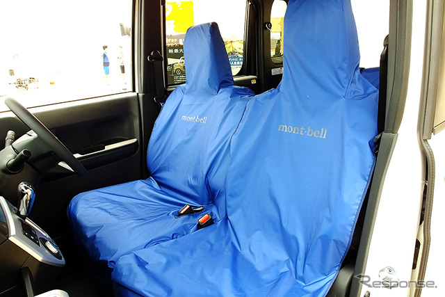 Daihatsu Wake X Montbell version SA (temporary name) previewed at the Seat to Summit 2015 (May 30 to 31 at Etajima, Hiroshima Prefecture). Attached waterproof floormap and seat apron developed with Montbell.