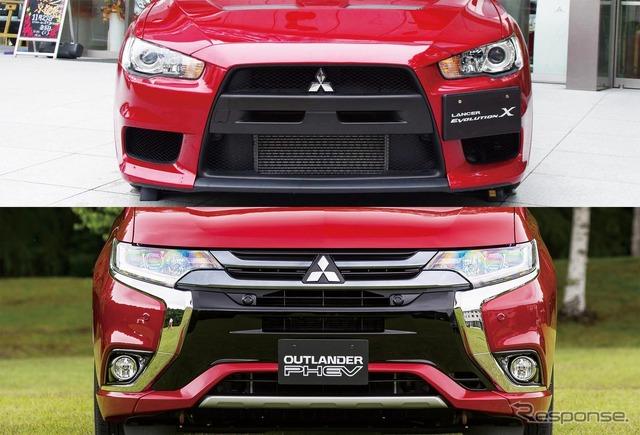 Mitsubishi Lancer Evolution X (top) and Mitsubishi Outlander PHEV (bottom)