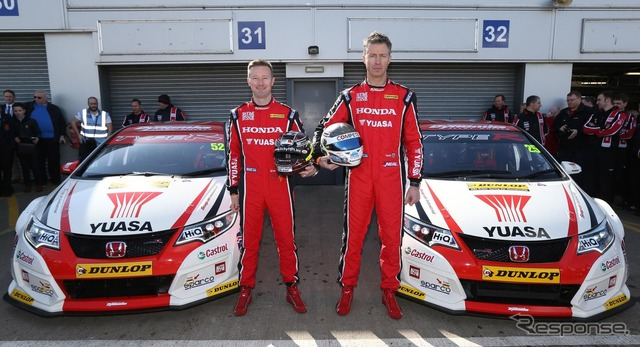 The all-new Honda Civic Type R racing car and BTCC drivers