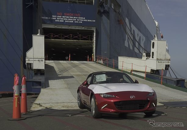 The arrival of the first fleet of Mazda's all-new MX-5 in the US