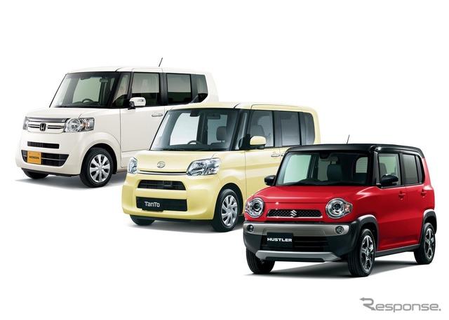 Popular mini-vehicles, Honda N-BOX, Daihatsu tanto, Suzuki Hustler (the reference image)