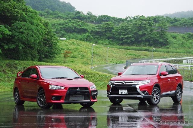 Mitsubishi Lancer evolution final Edition (left) and (right) New Outlander