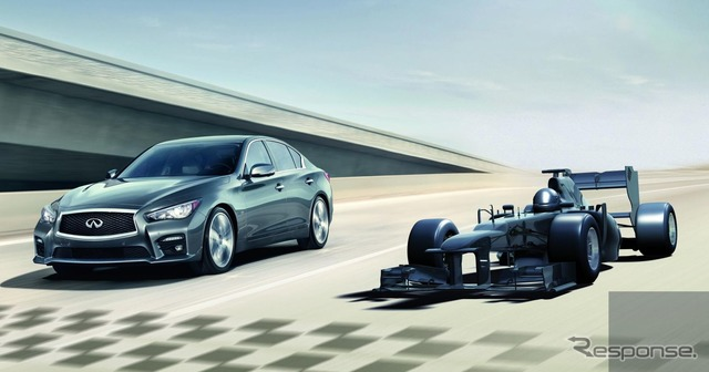 Q50 Infiniti (Nissan Skyline) and formula 1 cars