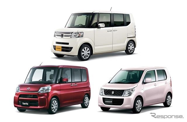 Honda N-BOX, Daihatsu tanto, Suzuki Wagon R