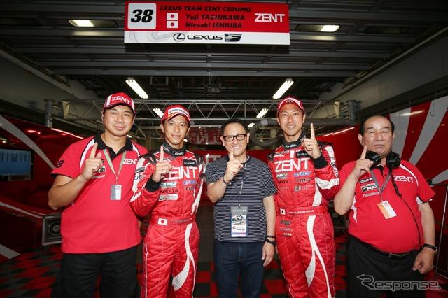 The #38 Lexus RC F team, GT500 Class pole winner. From left: Team Manager Toranosuke Takagi, Yuji Tachikawa, Toyota President Akio Toyoda, Hiroaki Ishiura, and CERUMO Team Founder Masayuki Sato.