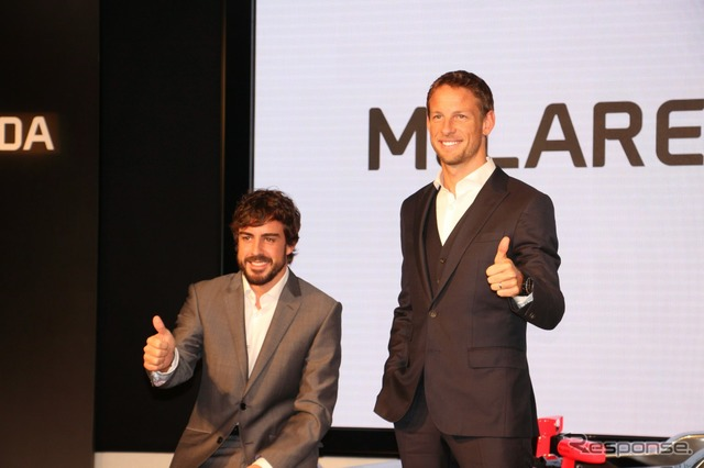Fernando Alonso (left) and Jenson button (right)