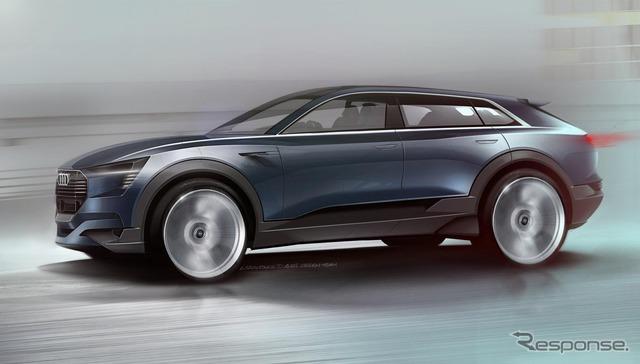 Notice of the Audi e-Tron, Quattro concept sketch