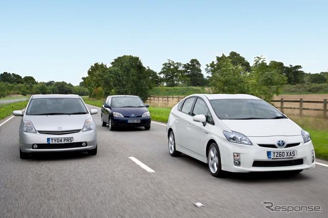 Toyota Prius' successive generations. From left: second generation, first generation, and third generation (current model)