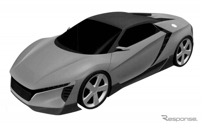 Mock-up image of the rumored Baby NSX, Honda's midship sports car