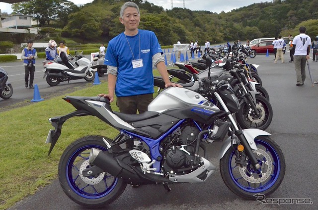Yamaha Motor Company MC Headquarters Product Planning Group Chief Ken Higuchi at the test driving session for the media