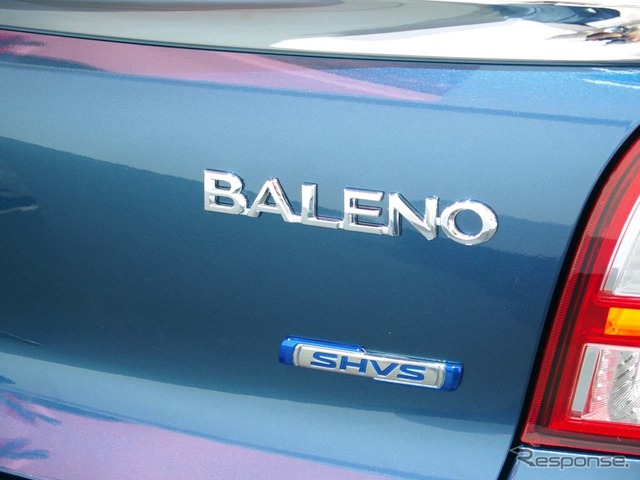 The new SHVS logo is placed under the Baleno badge
