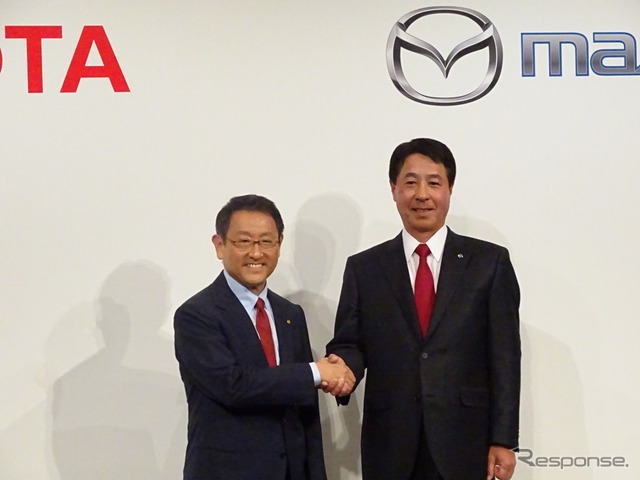 Partnership announced by Toyota's President Toyoda and Mazda's President Kogai (May 2015)