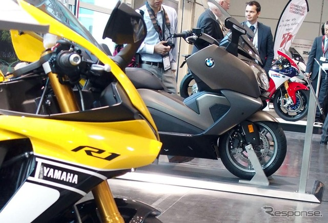 Lined up at Yamaha, BMW, Honda motorcycles