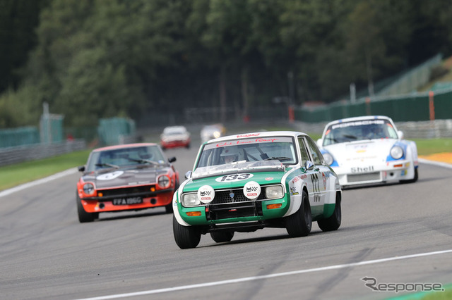 Mazda familiarotarycoupe raced to historic car racing in Belgium