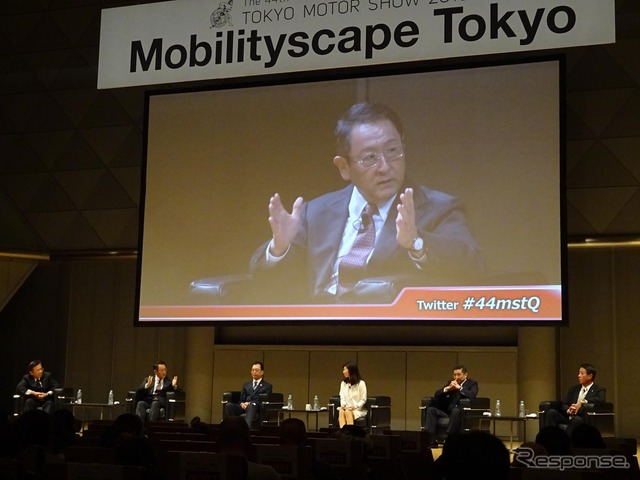 For internal and external media relations people carried out by the Japan Automobile Manufacturers Association Vice President five talk session Mobilityscape Tokyo 2015