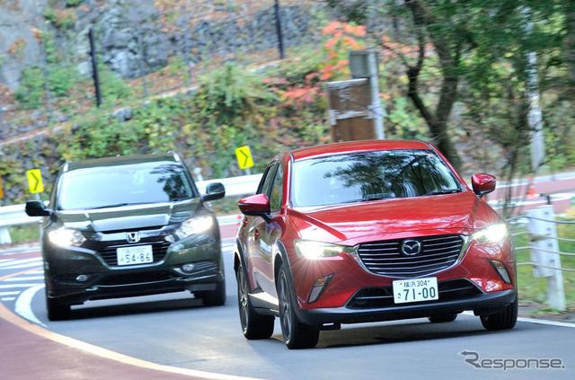 Mazda CX-3 & ride compared with Honda Vesel countryside leisure
