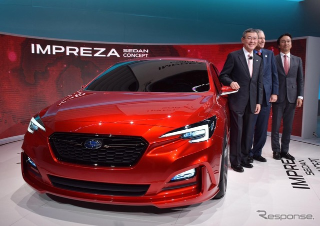 Subaru Impreza sedan concept and Fuji heavy industries Yoshinaga, President (Los Angeles motor show 15)
