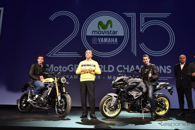 Left, XSR900 and Valentino Rossi Right, MT-10 and Jorge Lorenzo