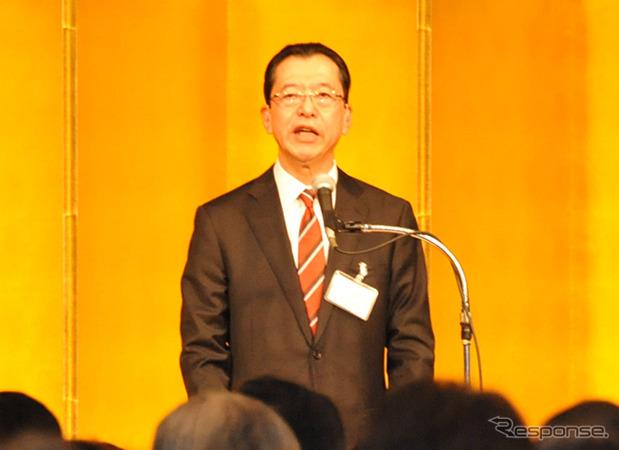 Japan Automobile Manufacturers Association Chairman Fumihiko Ike attending the New Year celebratory gathering of automobile industry organizations (January 5, Shinagawa)