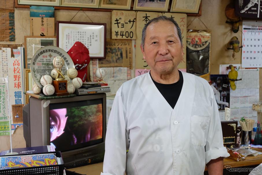 喜多方市内にあるラーメン店「宝夢蘭」の店主、菅沼健仁良さん。高校野球への愛はホンモノだ